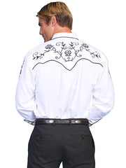 Scully Men's White Rayon Blend Black Floral Embroidered Diamond Snap Western Shirt - Bombshell Bettys Vintage