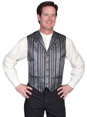 New Scully Range Wear Black Striped Classic Old West Victorian Steampunk Lawman's Vest