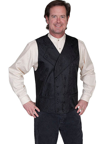 New Scully Range Wear Black Double Breasted Elegant Old West Victorian Steampunk Gentleman's Vest