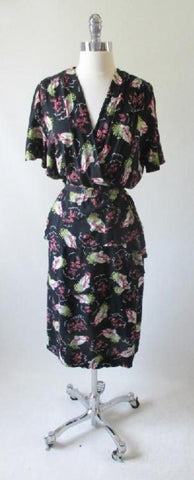 Vintage 40's Black Pink Houses & Hats Novelty Print Rayon Day Dress L / XL