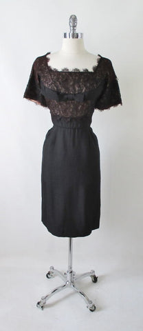 Vintage 50's H. Liebes Black Lace Evening Cocktail Party Sheath Dress M