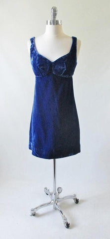 Vintage 60's MOD Blue Velvet Mini GoGo Party Dress M
