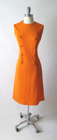 Vintage 60's MOD A Line Orange Dress L