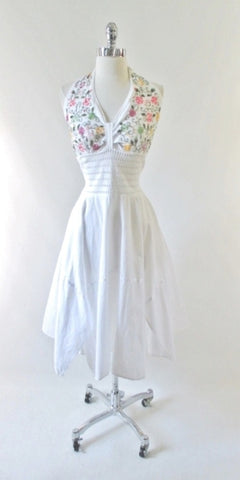 Vintage 80's White Embroidered Gypsy Halter Dress L