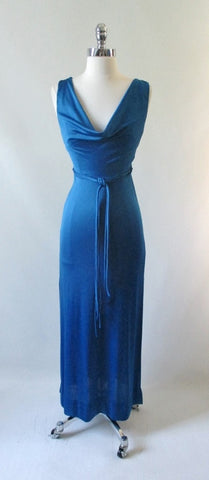 Vintage 70's Eletric Blue Goddess Party Gown XS • As Found