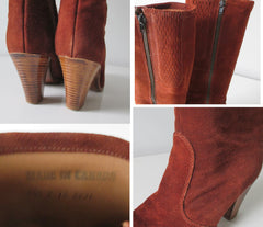 Vintage 70's Cinnamon Suede laether Knee High Boots & Original Box 8.5