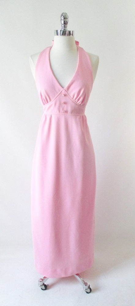 vintage70's soft pink halter maxi dress gown rhinestone buttons bombshell bettys vintage gallery