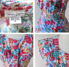 vintage 80's 90's floral flower button up full skirt mini summer party dress bombshell bettys vintage tags