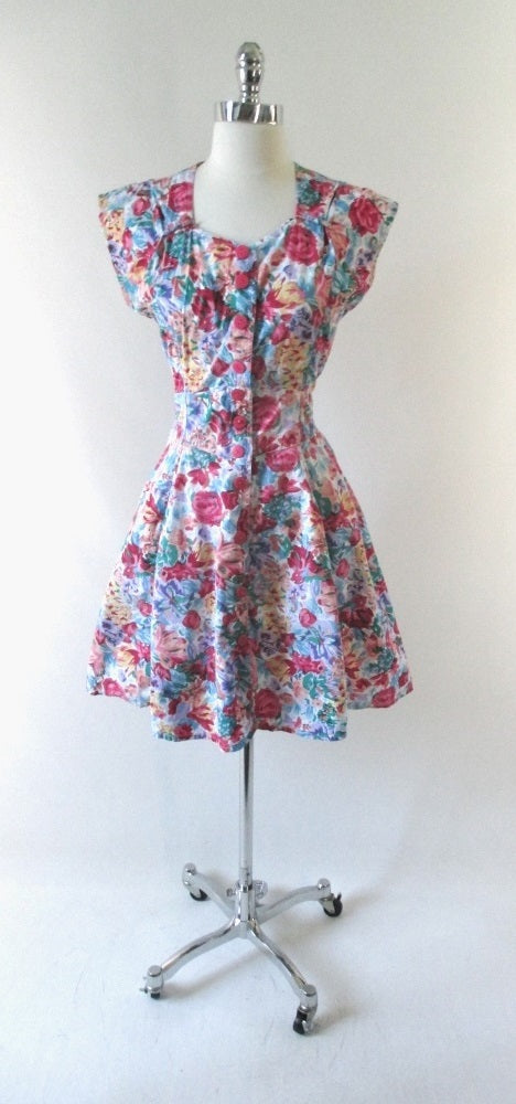 vintage 80's 90's floral flower button up full skirt mini summer party dress bombshell bettys vintage gallery
