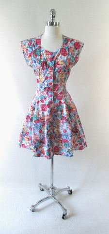 Vintage 90's Floral Button Up Mini Dress