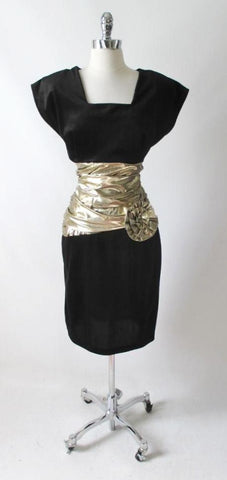 Vintage 80's Black Velvet & Metallic Gold Sheath Dress L