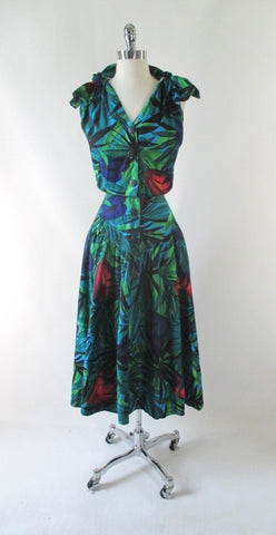 Vintage 80's Peace Lily Shoulder Tie Day Dress L