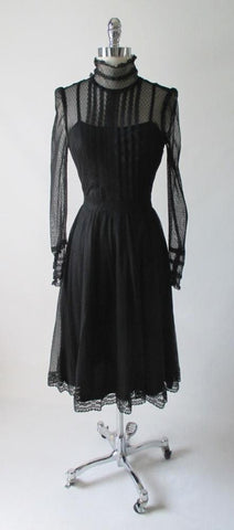 Vintage 80's Black Sheer Lace Prairie Victorian Gothic Tea Dress M