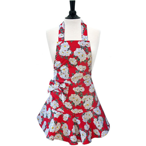 Red & White Floral Josephine Apron