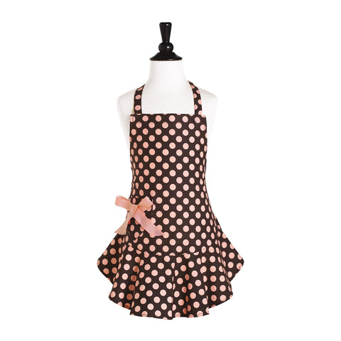 Brown and Pink Polka Dot Child's Josephine Apron