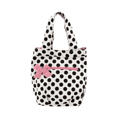 Cream and Black Polka Dot Insulated Travel Tote