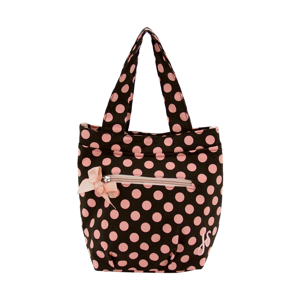 Brown and Pink Polka Dot Insulated Travel Tote
