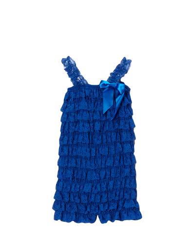 Royal Blue Lace Ruffle Romper
