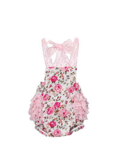 Pink Floral Ruffle Bubble Romper