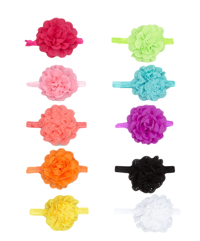 10 pc Die Cut Rainbow Floral Headband Set