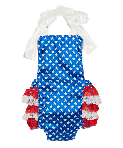 Blue Star 4th of July Bubble Romper
