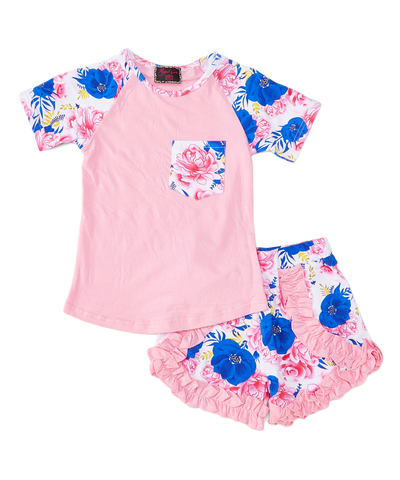 Pink and Blue Floral Ruffle Top & Shorts Set