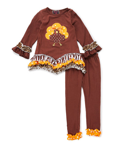 Brown Cheetah Turkey Ruffle Pant & Top Set