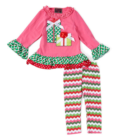Pink & Green Gift Christmas Pant & Top Set
