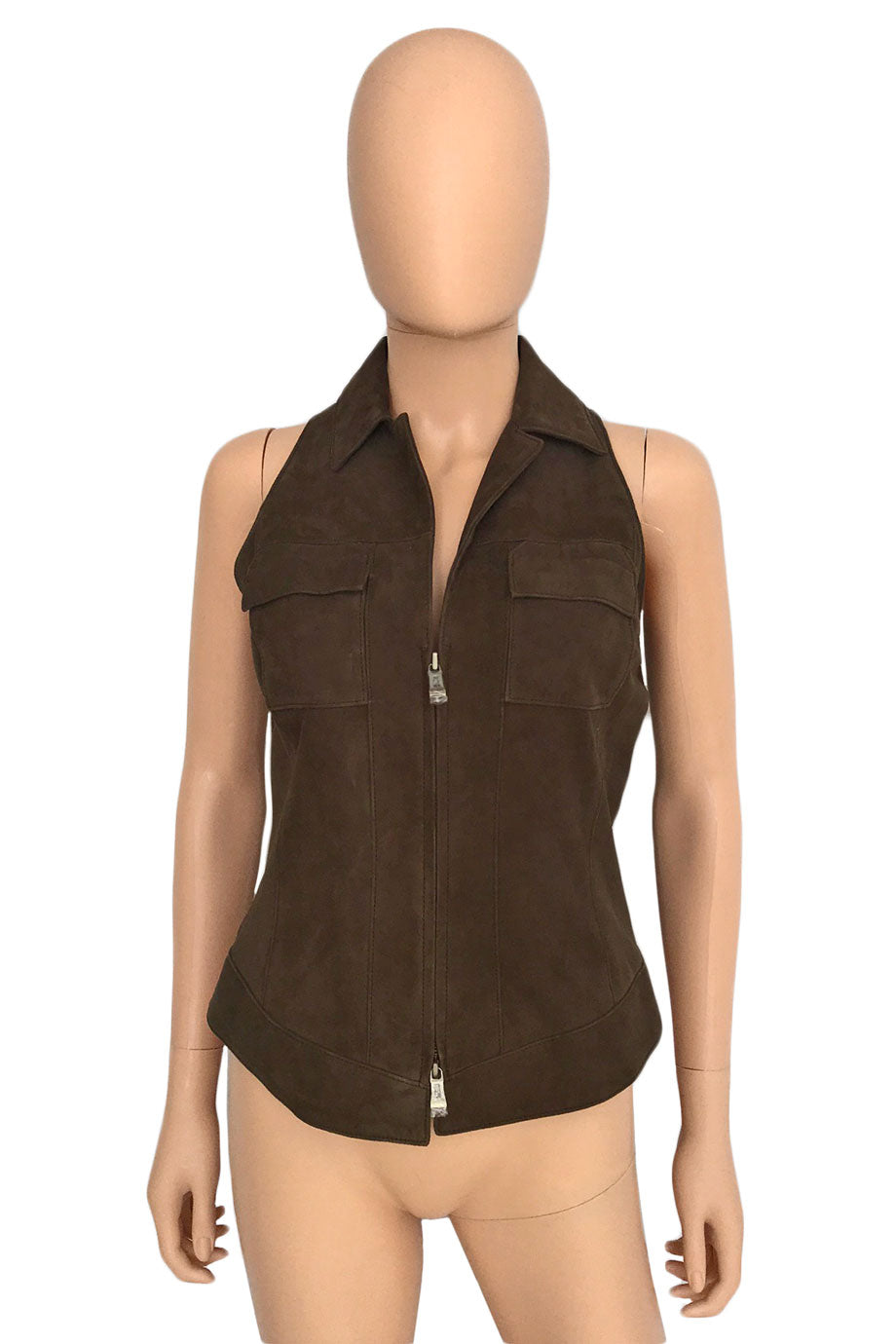 Worth Zip-Front Brown Suede Vest or Sleeveless Top / Sz 0-Style Therapy