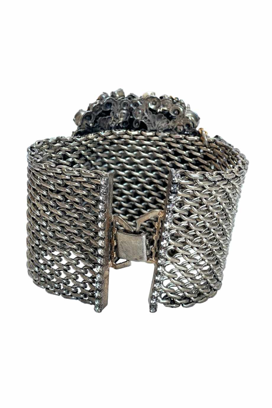 Erickson Beamon Crystal + Pearl Embellished Silver Glenda Cuff Bracelet-Style Therapy