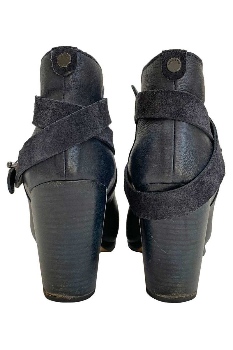 Rag & Bone Solid Navy Blue Leather Harrow Ankle Booties / Sz 40-Style Therapy