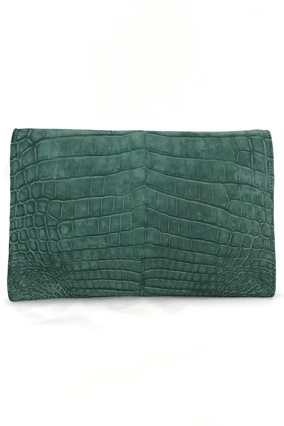 Jonathan Blake Solid Dark Green Crocodile Flap Clutch Bag-Style Therapy