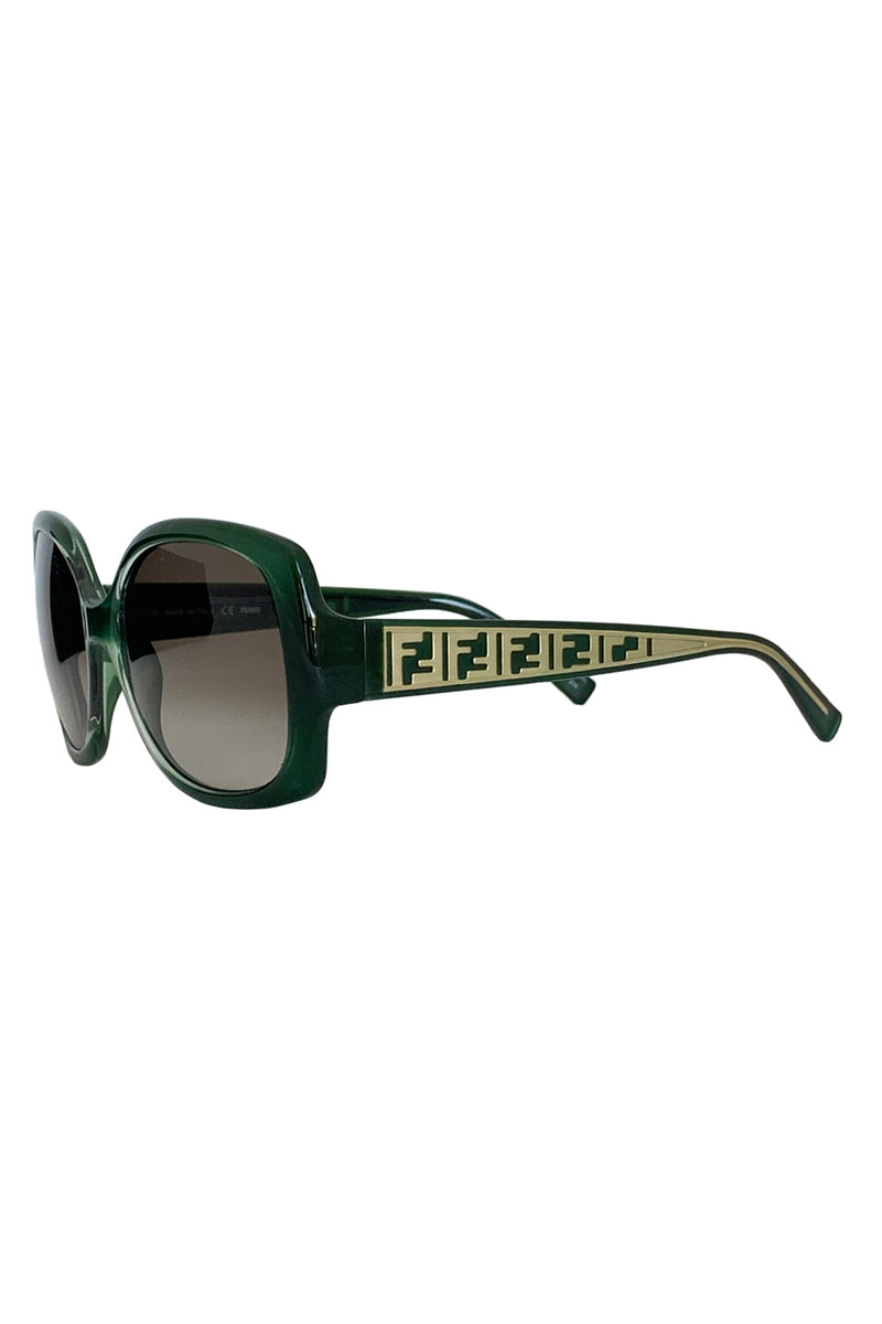 Fendi Women's Green FS5293 Logo Sunglasses + Brown Gradient Lenses-Style Therapy