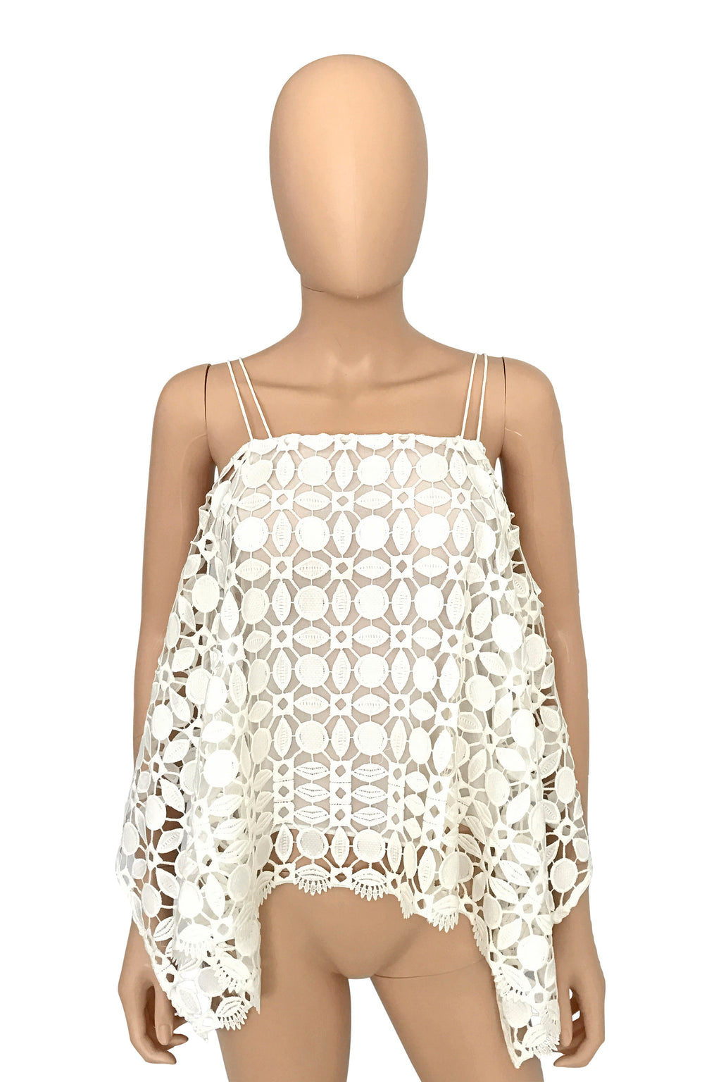 Nicholas White Mosaic Lace Cold Shoulder Top / Sz 2-Style Therapy