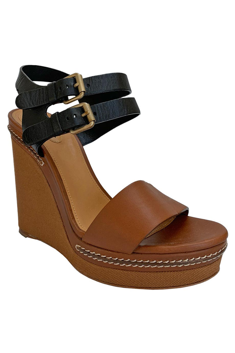 Chloe Two-Tone Brown + Black Leather Platform Wedge Sandals / Sz 39