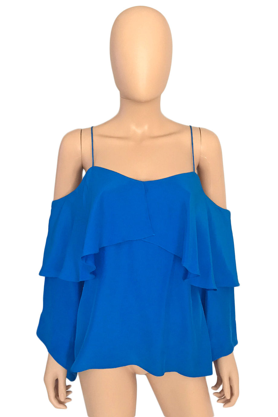 Jay Godfrey Bright Blue Long Sleeve Cold Shoulder Garcia Top / Sz 4-Style Therapy