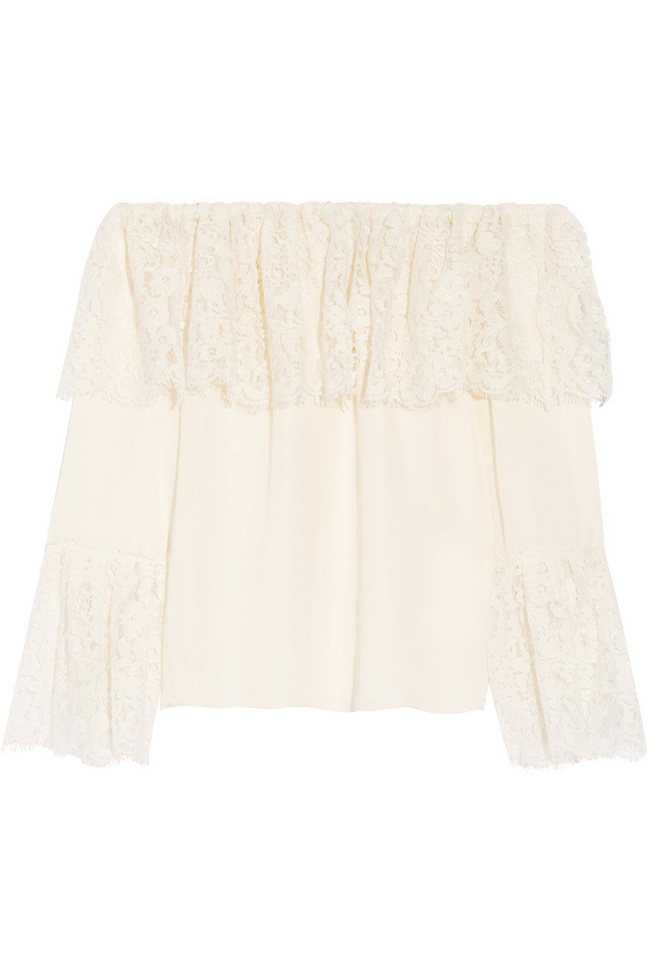 Rachel Zoe Lace Ruffled Off-Shoulder Krystal Blouse / Sz 4-Style Therapy