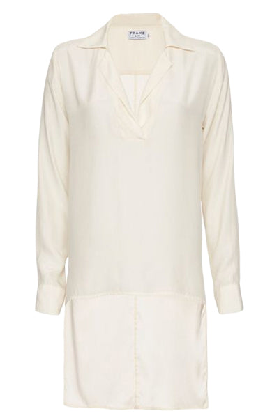 Frame Le High Low Ivory Silk Charmeuse Tunic Style Blouse / Sz S