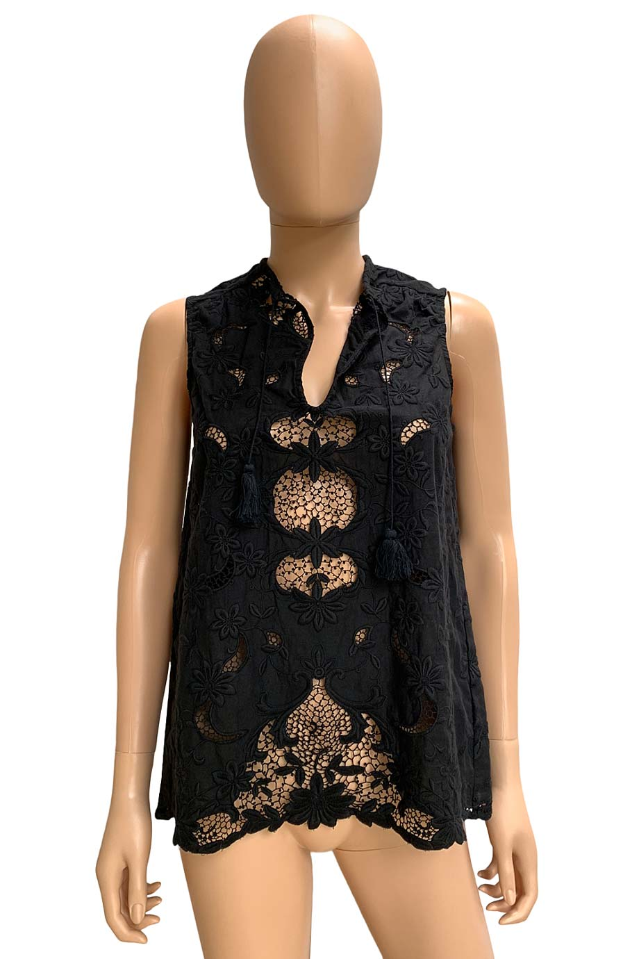 Sea NY Black Floral Lace Embroidered Sleeveless Top / Sz 2
