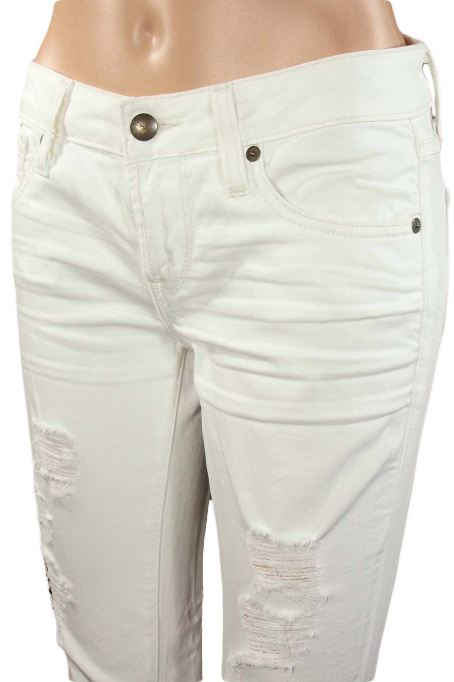 Work Custom Jeans White Denim Gidget Low-Rise Flare / Sz 26-Style Therapy