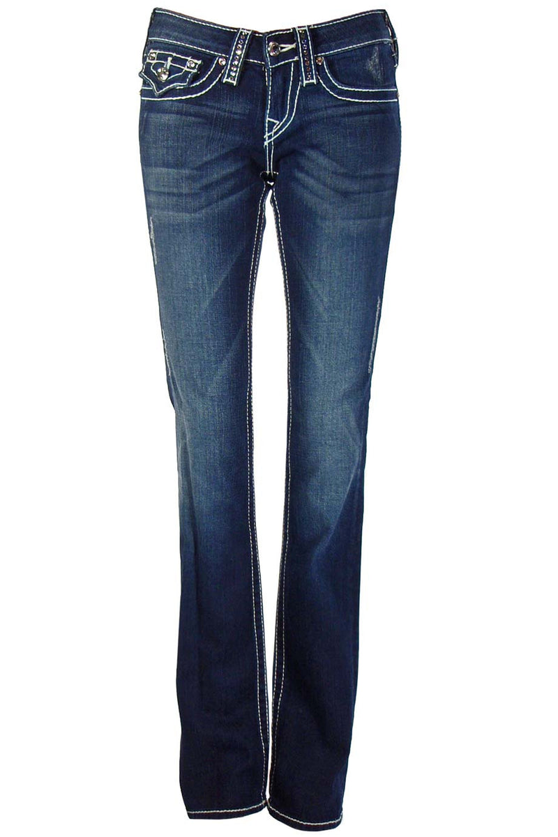 "True Religion Crystal Trim ""Disco Billy T"" Straight Leg Jeans / Sz 25 - Style Therapy  - 1"