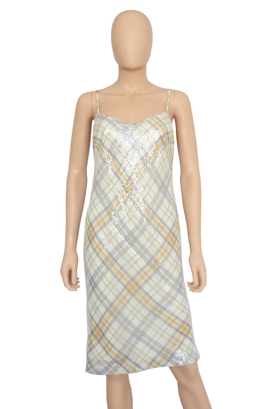 W By Worth Plaid Sequin Spaghetti Strap Cocktail Dress / Sz 2-Style Therapy