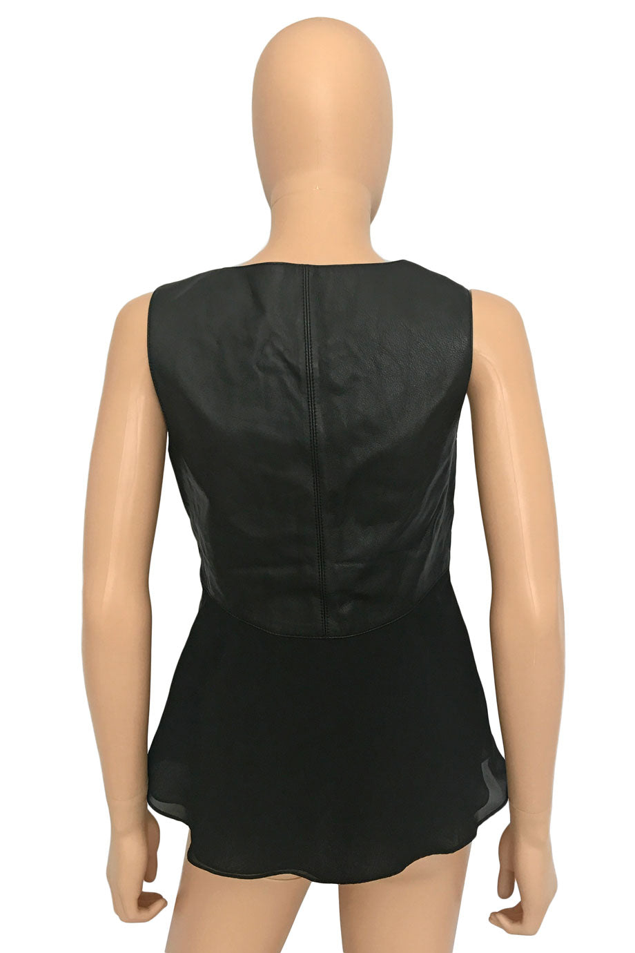 Worth Black Leather + Chiffon Sleeveless Tank Top / Sz 2-Style Therapy