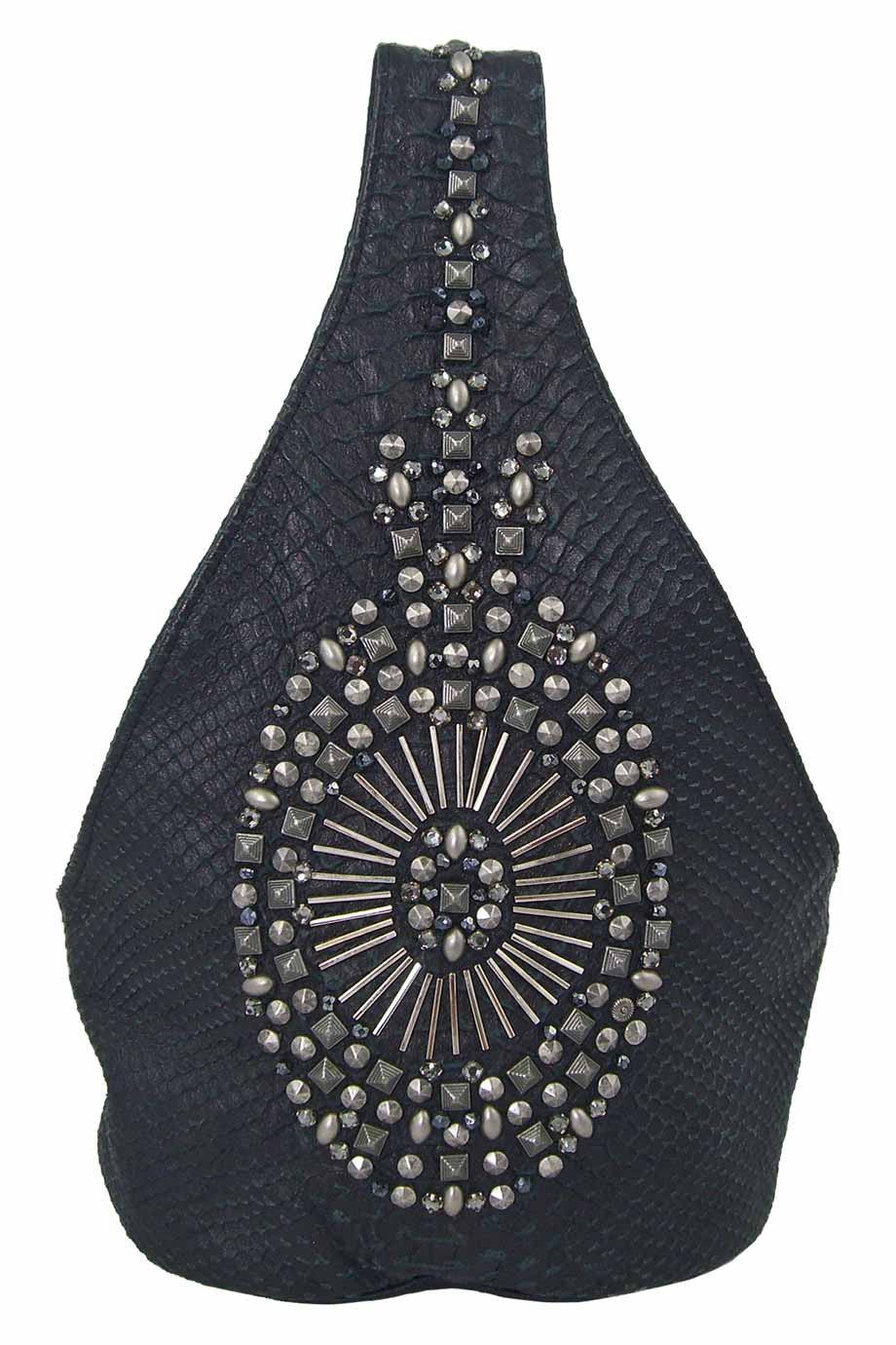 Simone Camille Studded Black Snakeskin Mini Bucket Bag - Style Therapy  - 1