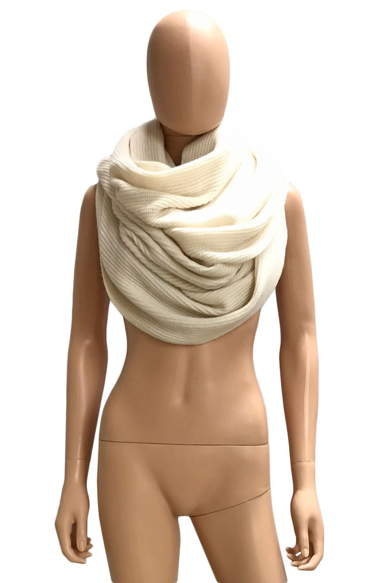 Ann Mashburn Ivory Cashmere Rib Knit Infinity Cowl Scarf-Style Therapy