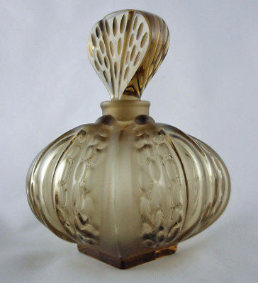 Lalique Olive Green Crystal Mirabel Perfume Bottle - Style Therapy  - 3