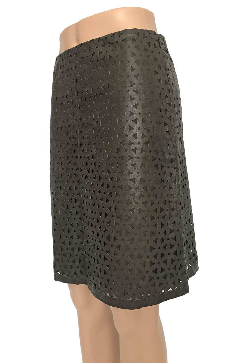 Worth Laser Cut Brown Leather A-Line Mini Skirt / Sz 0-Style Therapy