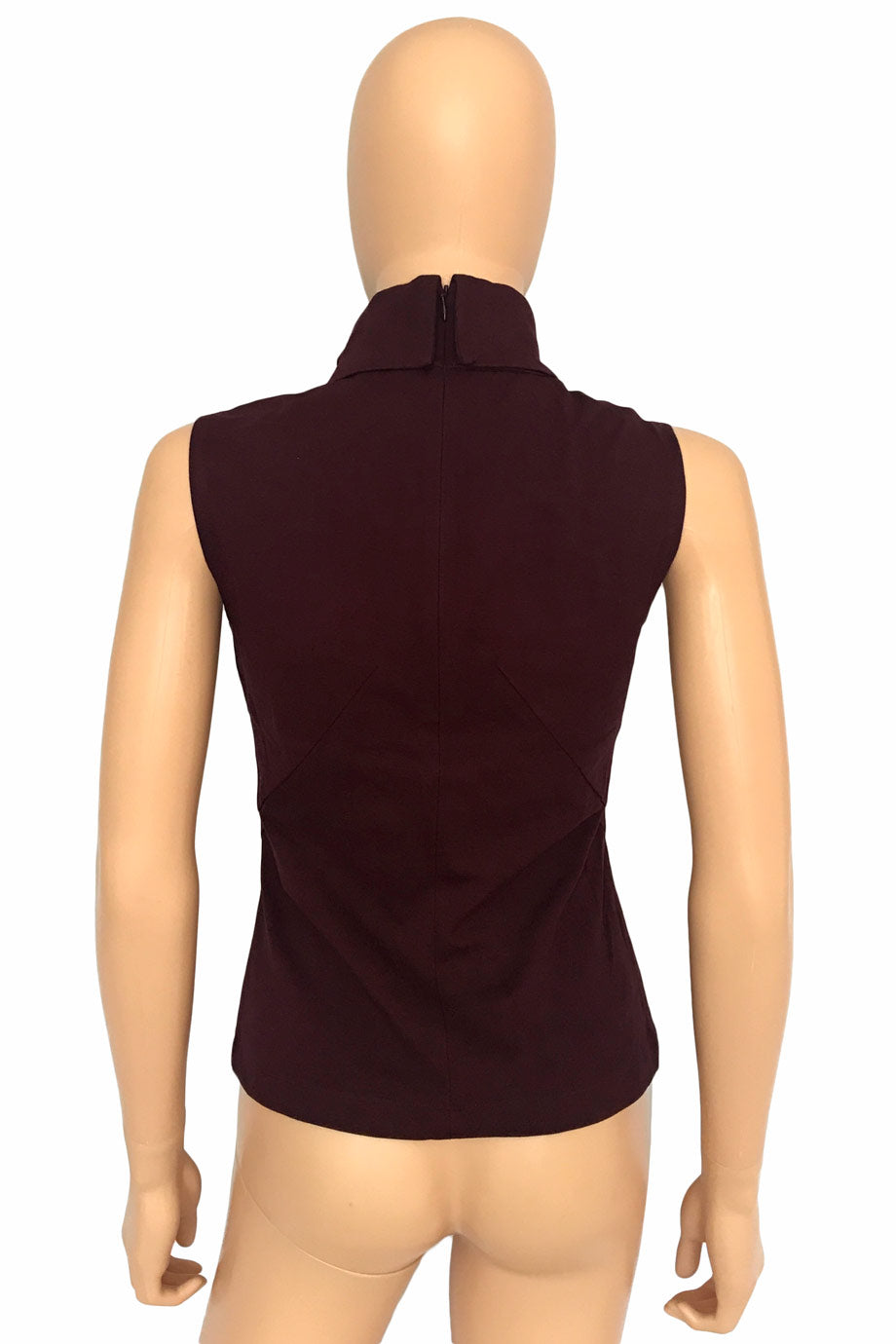 Worth Port Red Jersey Knit Sleeveless Mock Neck Top / Sz 2-Style Therapy