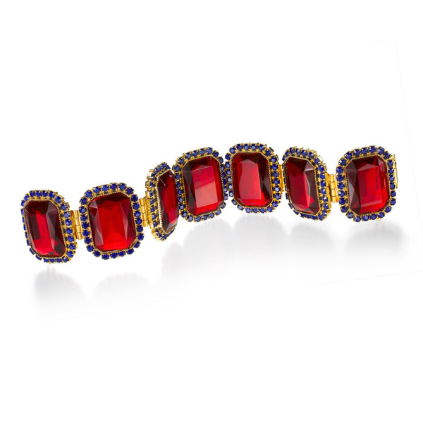 VINTAGE DELILLO DIAMANTE WITH RED STONES BRACELET CIRCA 1968