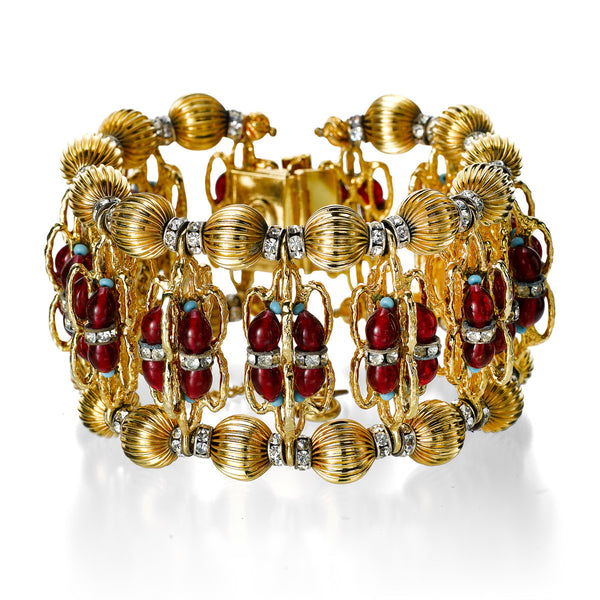 VINTAGE DELILLO GOLD TONE DIAMANTE RED WIDE BRACELET CIRCA 1968